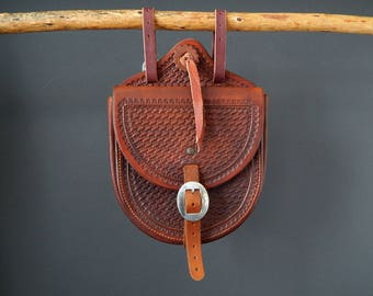 Leather Saddle Bag Hand Tooled Western Rustic Handcrafted Cowboy Gear Festival Bag Leather Accessories