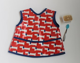 READY TO SHIP 2/3 Waterproof Toddler Art Smock Waterproof Toddler Bib in Red with Dogs