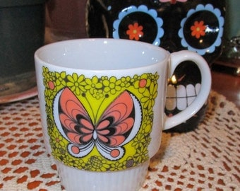 1970s Vintage Monarch Butterfly Stackable Mug - Made in Japan
