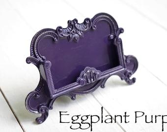 Distressed Metal Business Card Holder ,Eggplant Purple , Purple Office  Supplies , Home Office Desk