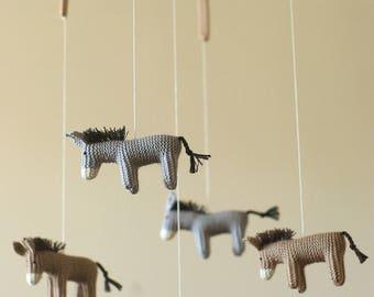 baby crib mobile / DONKEY mobile / pony mobile/ horses mobile / baby shower git / neutral gendre gift