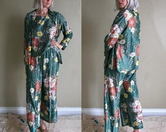 Vintage 1970's Sparkly Metallic Three Piece Trouser Suit, DISCO, Flower Print Hippie Disco Boho Outfit, Women's Medium Large