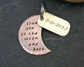 Keychain for Boyfriend, Gift for Daughter, LOVE YOU to the MOON and Back, Personalized or Add a Charm, Gift for Best Friend, Gift For Sister