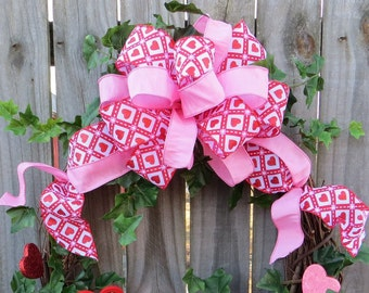 Valentines Day Bow for Wreath - Valentines Wreath Bow in Pink and Red - Valentines Day Decoration - Valentine Welcome BOW ONLY