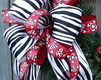 Valentine Zebra Print Bow for Wreath - Heart and Animal Print Valentines Bow in Red and Black and White Zebra Print, BOW ONLY