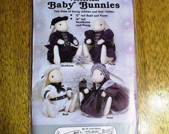 VICTORIAN Baby Bunnies - Designer Rabbit Folk Doll w/ Victorian Clothing (Easter Dolls) - UNCUT Craft Sewing Pattern by Gooseberry Hill