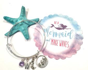 Mermaid Bracelet, Mermaid Bangle Bracelet, Mermaid Charm Bangle, Be A Mermaid and Make Waves Expandable Bangle, Mermaid Jewelry
