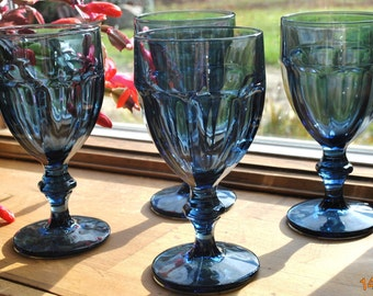 4 - Libbey Gibraltar Duratuff Dusty Blue Water Glasses