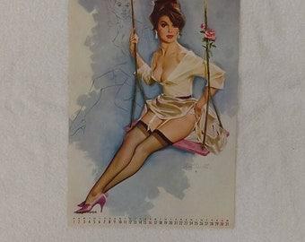 Vintage Pinup Girl Risque Calendar Page Fritz Willis 1965