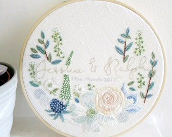 Customised Wedding Embroidery Art - Floral Bouquet with Bride and Groom's Names - Gift for the Couple