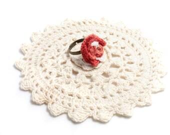 Crochet Ring - Ring - Flower Ring - Crochet Jewelry - Red Ring - Vegan Jewelry - Ring - Adjustable Ring - Crochet Flower - Crochet