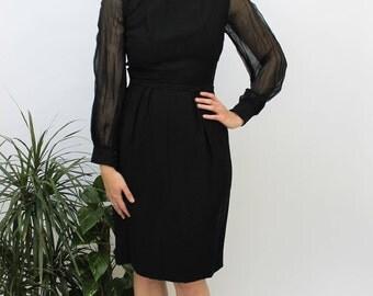 1960s Black Bow Back Design Wiggle Dress Size UK 6/8, EU 34/36, US 2/4