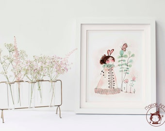 Awakening - Nursery Decor - Baby Girl Decor - Butterfly & Girl - Nature -Whimsical, Dreamy, Enchanting, Magical Fine Art print illustration