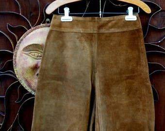 Vintage 1970's Brown Suede Leather Shorts, 70's Fashion, Suede Shorts, High Waisted Suede Shorts