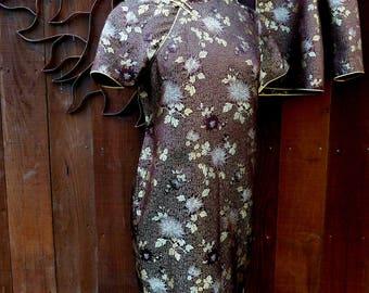Vintage 1950's Brown Asian Dress and Jacket Set, Cheongsam/Jacket Suit, Vintage Chinese Dress, Asian, Ethnic