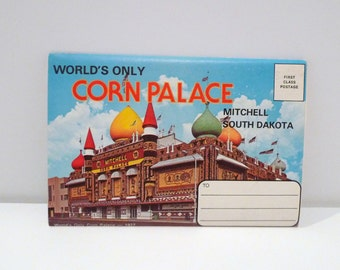 Corn Palace Postcard Set Vintage Mitchell South Dakota 1970s The World's Only Corn Palace Agriculture Theater Attraction Oddity Unused USA