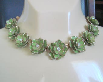 Mid Century Green Enamel Rhinestone Floral Choker Necklace / Gold Accents / 1950s Vintage Jewelry / Jewellery