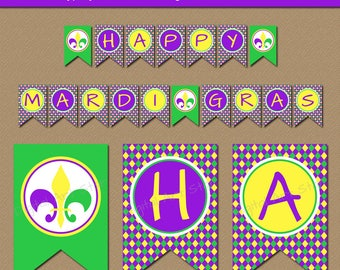 Mardi Gras Banner, Mardi Gras Party Decor, Baby Shower Banner, Mardi Gras Birthday Banner, Photo Prop, Instant Download EDITABLE Banner M1