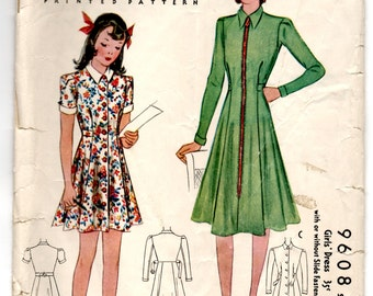 """1930's McCall Girl's One-Piece Dress with Zip or Button Front Pattern - Breast 26"""" - No. 9608"""