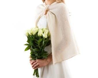 Ivory Wedding cape .Knitted Bridal  shrug. Romantic Wedding Bolero .New design Bridal Pelerine. Wedding cover up, TIE THE KNOT