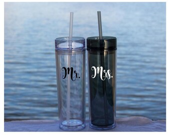 Bridal Tumblers - His and Hers, Mr & Mrs, or Bride and Groom - includes 2 tumblers - Extra fast shipping