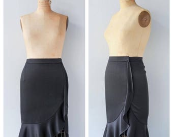Vintage 1990s Satin Ruffle Accent Skirt / Black Skirt High Waist Boho Bohemian Romantic M Medium