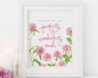 Fearfully and Wonderfully Made, Floral Nursery Art Scripture, Illustrated Faith Art, Scripture Print for Her Bible Journaling, Lady Digital