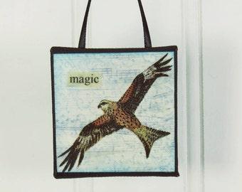 Soaring Hawk Magic, A Little Bird Ornament, Wild Bird Beeswax Miniature Art