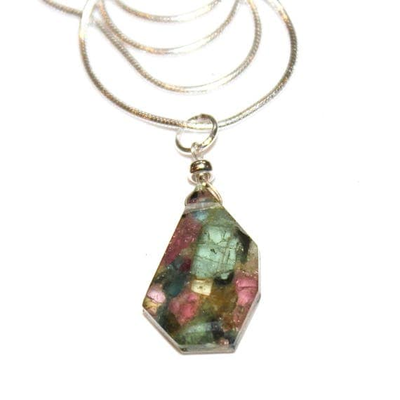 Mosaic Watermelon Tourmaline Necklace