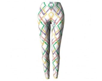 Geometric  Leggings - Yoga Pants Workout legging tights white pattern print design legging polyspandex polyester spandex stretchy comfort