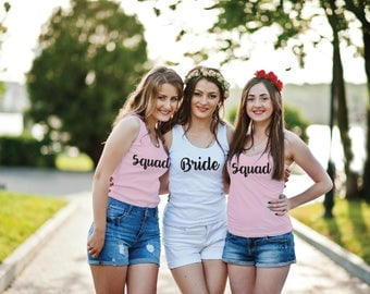 Bride and Squad Long Tank Top. Gathered Racerback. Bridal Long Length Tank.