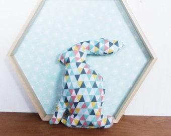SMALL Scandinavian rabbit fabric deco triangles 21 cm