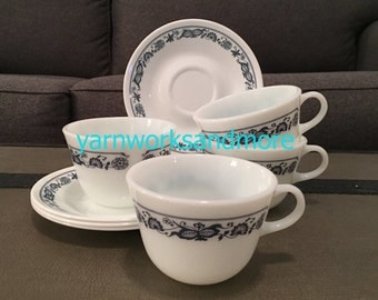 Old Town Blue Cups & Saucers, Lot Of 4, Corelle Old Town Blue, Corning Old Town Blue, Pyrex Old Town Blue, Vintage 1980s
