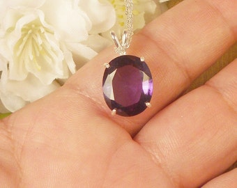 Certified Alexandrite Necklace, June Birthstone, Sterling Silver, 10.30 Ct 13.44 x 10.89 mm Natural Alexandrite Color Changing