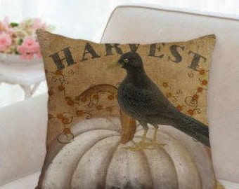Harvest Designer Pillow with a White Pumpkin and Black Crow