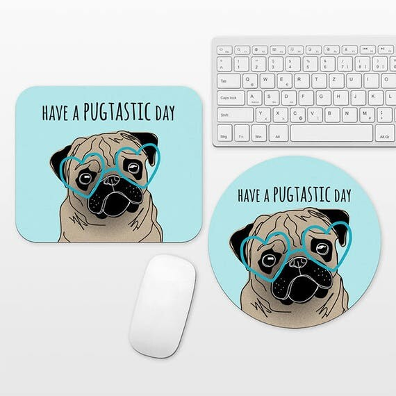 Pug Mouse Pad Round or Rectangle, Aqua Blue Mouse Pad Dog Mouse Pad Pug Mousepad Funny Mouse Pad Cool Mouse Pad, Mouse Mat, Dog Desk Decor