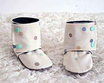 Baby Stay-on Booties, Toddler Boots, Spotty Booties, Cream Boots, Fabric Booties, Soft Sole Shoe, First Birthday, Anti-Slip Soles, Slippers
