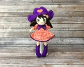 "Coral and purple cowgirl doll 15 "", cotton, minky, with skirt hair, boots and hat, gift for girl"