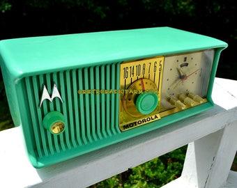 SEA GREEN Mid Century Retro Antique Jetsons 1957 Motorola 57CC Tube AM Clock Radio Totally Restored!