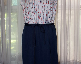 Vintage 1960's Sue Sherry New York Red White And Blue Day Dress