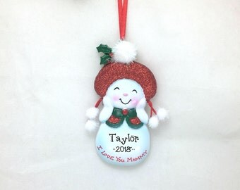 Love You Mommy Personalized Christmas Ornament / Mother Ornament / Snowman / Mom / Hand Personalized