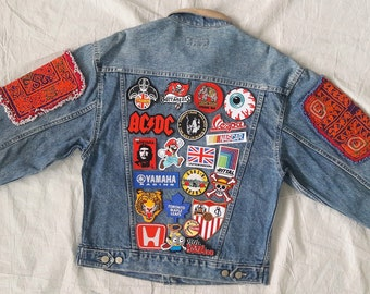 Patched Denim / Hand Reworked Vintage Jean Jacket Leather Collar with Patches / Vintage Denim Jacket with Patches Men Size S