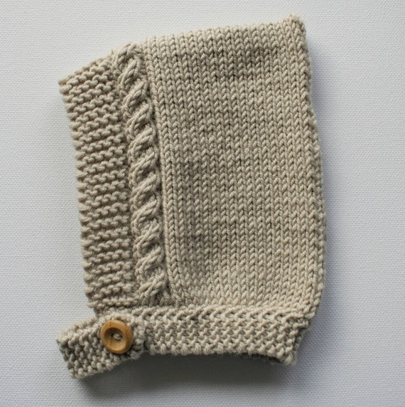 Cable Knit Pixie Hat in Almond Merino Wool - Sizes Newborn to 24 months - Pre-Order