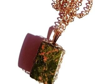 Unakite pendant necklace jewelry. Wire crochet jewelry made in France. scorpion gift women. Gift women anniversary. fertility crystal