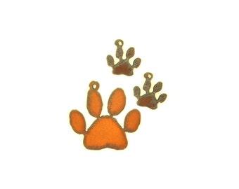 Paw Print Rusty Metal Pendant/Charm And Earrings 3-Piece Set