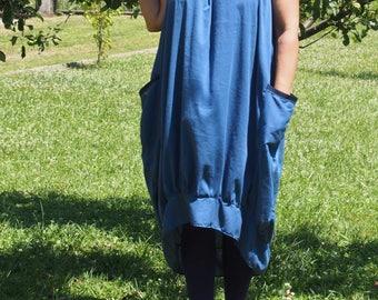 Asymmetric Maxi Dress / Navy Blue Kaftan / Extravagant Long Dress /Daywear Dress with side pockets  & Nara KR008