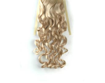 "18"" long Blonde Mix Curly Wavy  clip on Ponytail hair extension Cosplay Custome Party Carnival Cheerleader x 1 piece New"