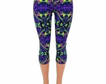 UV Glow Neon Melt Print High Waist Capri Length Leggings Psychedelic Wavelength - 154960