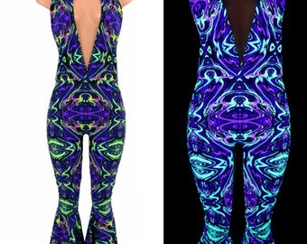 """Neon Melt UV GLOW """"Josie"""" Halter Catsuit with Bell Bottom Flares Psychedelic Rave Festival - 155067"""