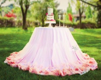 Rosette Table Overlay & Tablecloth Set | Sheer Romantic Rose Embellished Tulle for Wedding Head Table Cake Table Baby Shower Girl's Birthday